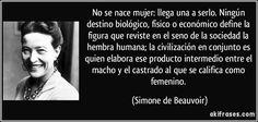No se nace mujer: llega una a serlo. Ningún destino biológico, físico o económico define la figura que reviste en el seno de la sociedad la hembra humana; la civilización en conjunto es quien elabora ese producto intermedio entre el macho y el castrado al que se califica como femenino. (Simone de Beauvoir)
