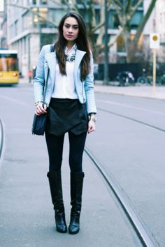 Jacket and skort: Zara/ Blouse: Filippa K/Boots: Marc Jacobs/ Bag: Chanel/ Bracelets and necklace: Zara.| we-heart-fashion