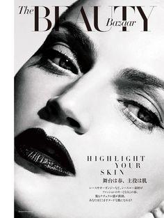 Guinevere Van Seenus makeup with red lips for Harper's Bazaar Japan Magazine April 2016 issue