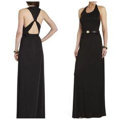 NEW BCBG MAXAZRIA  ADRIENE VINTAGE BLACK Long Open Twist Back Dress M $158  #BCBGMaxAzria #Maxi #Festive