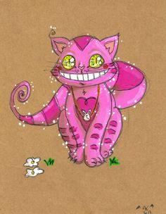 Illustration, dessin, peinture à l'acrylique du cheshire cat, chat d'Alice aux pays des merveilles, chat du cheshire.