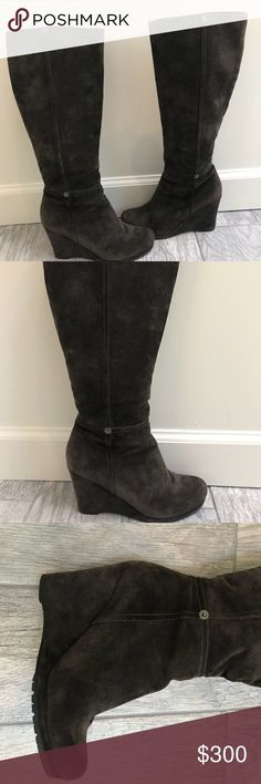 Prada chocolate suede wedge boots Chocolate suede Prada Sport round-toe knee high boots with tonal stitching throughout, covered wedge heels and gunmetal zip closures at sides. These boots were worn twice. They are a beautiful, classic style. Prada Shoes Heeled Boots