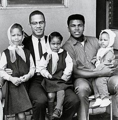 Two legends of the American human rights struggle. Malcolm X, Muhammad Ali and their children. May Allah grant Malik el-Shabbaz jannah, and may He grant Muhammad Ali excellent health. Malcolm X, Muhammad Ali, Elijah Muhammad, Black Power, Kings & Queens, La Ilaha Illallah, Photo Star, Vintage Black Glamour, By Any Means Necessary