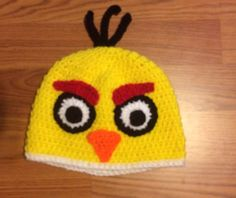 yellow angry bird crochet hat | Pinned by Sharon Vaughan