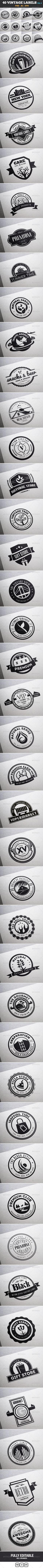 40 Vintage Labels & Badges / Logos / Insignias V9 - Badges & Stickers Web Elements