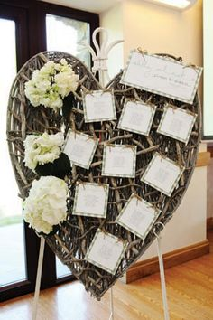 Another homemade seating plan.  The wicker heart can be bought.