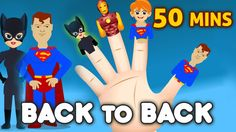 Super Heros Finger Family and More |  50 Minutes | Nursery Rhymes & Song...