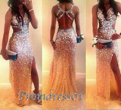 2015 prom dresses by #promdress01, Sexy open back side slit sparkly long formal prom dress for teens, ball gown, evening dress #promdress