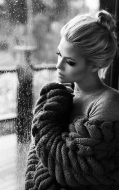 Love the cozy sweater indoors near the window. Good inspiration. (Beauty Women Boudoir)
