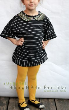 This is just adorable! The mustard leggings and Peter Pan collar. I love this child's piece