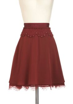 Oh Sew Pretty Skirt - Red, Solid, Buttons, Lace, Mid-length, Work, Casual, Vintage Inspired, Fall
