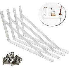 LUCINA L字型 棚受け金具 アイアンブラケット 4本セット ビス付き (200×120×16mm, ホワイト) Garden Tools, Yard Tools