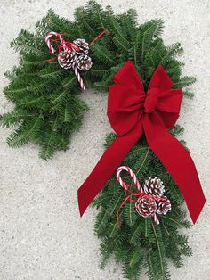 Fresh Candy Cane Wreath $45.99 Unique Christmas door decoration made with Maine balsam