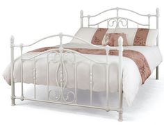 Serene Nice Double White Metal Bed Frame