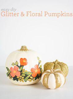 Easy Halloween DIY: Glitter & Floral Pumpkins via PBTEEN