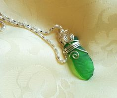 Green patterned SEA GLASS Silver plated necklace Mother's day Mermaid tears International women's day Special gift idea for her Rare glass by FoxJewelleryShop on Etsy