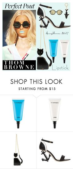 """""""Freshly Caught: Powder Blue Lips at Thom Browne S/S 2017"""" by bklou ❤ liked on Polyvore featuring beauty, MAC Cosmetics and Thom Browne"""