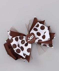 Take a look at this White & Brown Polka Dot Bow by Payton Grace Bows on #zulily today!