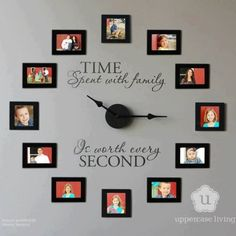Family wall ideas ad cool ideas to display family photos on family pictures wall decor ideas Picture Clock, Photo Wall Clocks, Photo Clock, Picture Frame, Photo Frame Display, Display Family Photos, Display Ideas, Creative Photo Frames, Creative Walls