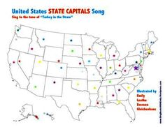 United States State Capitals Song  Traditional Words and Tune  Illustrated by Emily Leatha Everson Gleichenhaus - More info here: http://singbookswithemily.wordpress.com/2012/06/24/usa-state-capitals-song/