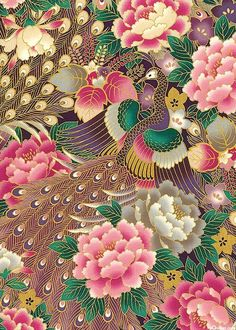 Quilt Gate - Peacocks & Peonies - Large Scale - Purple - Last 1 yards Japanese Textiles, Japanese Patterns, Japanese Prints, Japanese Design, Japanese Paper, Japanese Fabric, Chinese Painting, Chinese Art, Flower Wallpaper