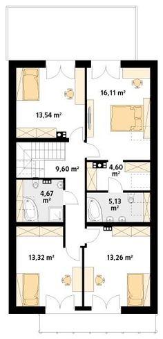 Projekt domu MT Amarylis 4 paliwo stałe CE - DOM - gotowy koszt budowy Modern Bungalow House, Rustic House Plans, House Floor Plans, Home Fashion, Future House, Planer, Kitchen Design, Sweet Home, House Design