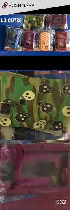 """NWT! LG-CU 720 CELL PHONE CASES BUNDLE OF 6 NEW WITH TAGS! LG- CU 720 BUNDLE OF SIX CELL PHONE CASES: ONE GREEN CAMO SKULLS; ONE PURPLE; ONE BLUE CROSS """"HAVE FAITH""""; ONE PINK; ONE RED; & ONE YELLOW WITH PINK DOTS. PRICE IS FOR BUNDLE OF ALL 6 CASES. (WILL SEPARATE IF REQUESTED AND SELL @ $7.00 EACH). LG-CU 720 Accessories Phone Cases"""