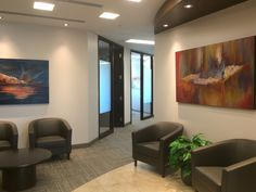 Office lobby, artwork by Soraya Silvestri. Ottawa artist, Canadian artist, abstract painter.