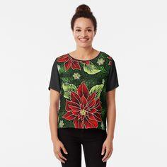 Green Christmas, Christmas Themes, Christmas Gifts, Floral Chiffon, Chiffon Tops, Red Green, Fitness Models, Printed, Awesome