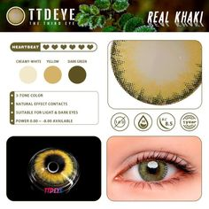 Buy TTDeye Real Khaki Contacts Online - ttdeye Brown Contact Lenses, Contacts Online, Circle Lenses, Colored Contacts, Dark Eyes, Pretty Eyes, Three Dimensional, Light In The Dark, Eyeshadow