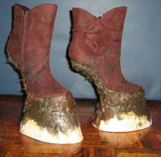 DIY Hooved boots:  wooden platforms and fiberglass reinforcements;  said it was a bit awkward and uncomfortable, but no more so than wearing high heels