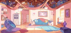 fenryk:  slimu:  beeandpuppycat:  Bee's apartment Hans Tseng designed the new look for Bee's apartment and colored it with Efrain Farias. Looks likeBee and PuppyCat is shaping up to be pretty sweet indeed.  I drew and painted this under Efrain's art direction:D  A preview of the new Art Direction i've been setting for Bee and Puppycat