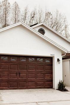 Fabulous Faux Wood Carriage Garage Door White Garage Doors, Metal Garage Doors, Garage Door Colors, Garage Door Paint, Garage Door Hardware, Garage Door Makeover, Garage Door Design, Faux Wood Garage Door Diy, Garage Remodel