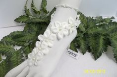 Wedding Barefoot Sandals with Anklet Barefoot made with white stephanotis flowers, crystals and pearls.  by BeDazzledShop, $25.00
