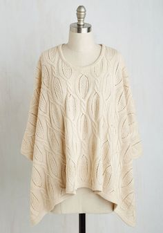Frappe Things Up Poncho. After slipping into this cream poncho and grabbing a cup of your favorite brew, your look finally feels complete. #cream #modcloth