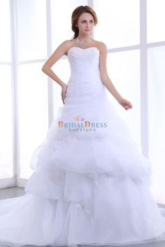 Grand A-line Sweetheart Neck Layers Appliques White Wedding Dress