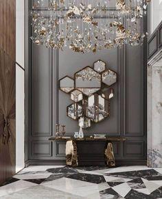 Modern Mirror Design, Foyer Design, Entrance Design, House Design, Modern Mirrors, Luxury Home Decor, Luxury Interior Design, Luxury Homes, Home Entrance Decor
