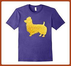 Mens AUSTRALIAN TERRIER Glitter T-Shirt, DOG Gold Glitter T-Shirt Large Purple - Animal shirts (*Partner-Link)