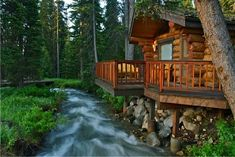 Bighorn log cabin sits on the North Fork creek at Montana's Lone Mountain Ranch | Lone Mountain Ranch