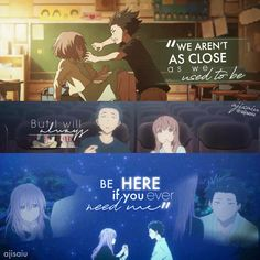 Koe no Katachi - My Worlds Sad Anime Quotes, Manga Quotes, Sad Quotes, Inspirational Quotes, Life Quotes, Deep Quotes, A Silent Voice, Anime Films, Anime People