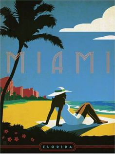 Miami Vintage Travel Poster ~ by DeFharo