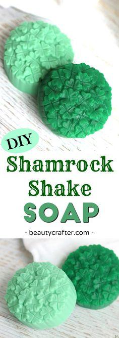 Shamrock Soap, DIY St. Patrick's Day Soap #stpatricksday #shamrock #clovers #soap #soapmaking #crafts