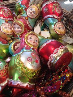 Handmade Russian dolls Christmas tree decorations.