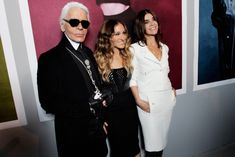 Sarah Jessica Parker with Karl Lagerfeld at the Chanel Exhibition