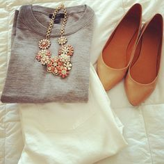 white jeans, grey sweater, nude flats, and peach necklace