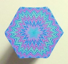 LARGE Blue Green Purple and White Hexagon Polymer by ClaybyKerm, $10.00