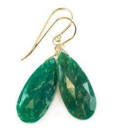 Amazonite-Earrings-Yellow-14k-Gold-Fill-Dark-Green-Large-Long-Briolette-Natural