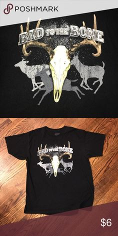Bad to the Bone black T shirt Men's XL black deer hunting shirt. Bad to the Bone.                               Similar to realtree, browning, drake and other hunting brands. Lifestyle Legends Shirts Tees - Short Sleeve