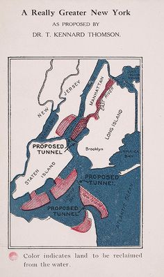 A Really Greater New York, 1911. With areas of land to be reclaimed from water, inc the East River!