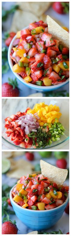 It's strawberry season! Strawberry Mango Salsa - The combination of sweet and spiciness is so good, you'll want to eat this with a spoon!